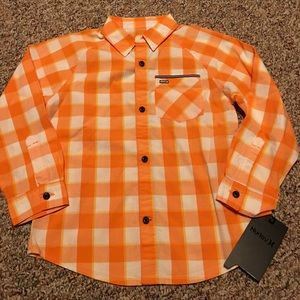 New Hurley Button-down Boys Orange plaid Youth